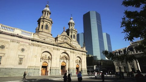 SANTIAGO, CHILE - FEBRUARY 11, 2017: Plaza de Armas in Santiago in center of Chile capital in summer day. Santiago, Chile, South America