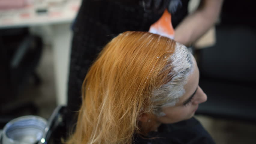 Hair Coloring For A Young Woman In The Salon Stock Footage Video ...