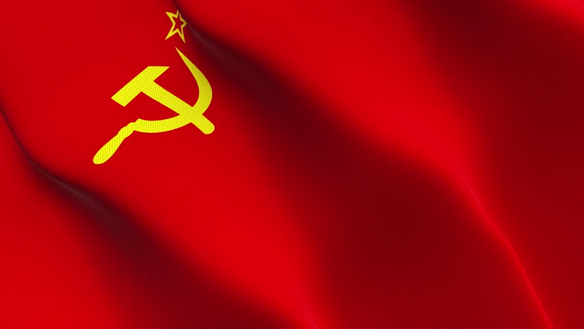 soviet union flag waving in the wind stock footage video