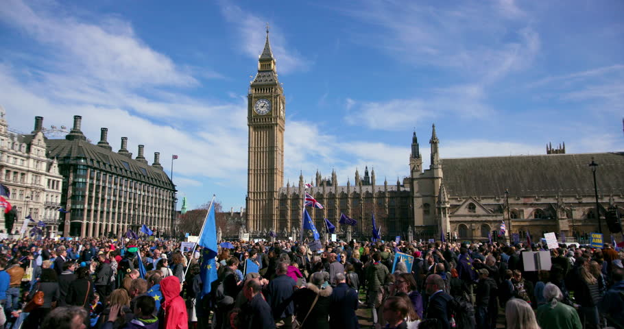 UNITED KINGDOM, LONDON - MARCH 2017: The Unite For Europe March Outside Houses Of Parliament; Parliament Square London