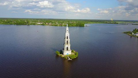 Famous flooded bell tower in Kalyazin, Tver oblast, Russia