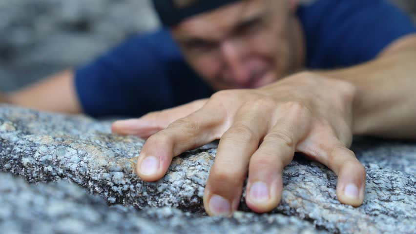 Mountain Climber Man Reaching The Top Doing His Best. Closeup on Hand. HD, 1920x1080.  | Shutterstock HD Video #27699706