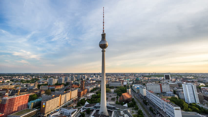 BERLIN, GERMANY – April 16, 2017: TV Tower and Alexanderplatz afternoon to night timelaps Top view on Berlin downtown sunset time lapse | Shutterstock HD Video #27731266