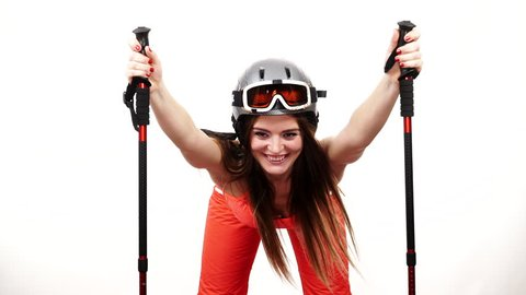 Woman skier preparing for season. Young girl with skiing gear bending squat down. Winter sport activity, healthy leisure relax concept. Joyful sportswoman isolated on white, studio shot, full HD