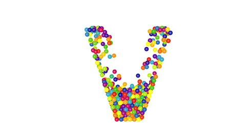 3d render animation with colored balls creating V letter on a white background.