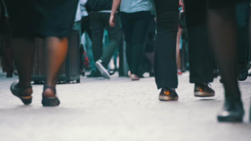 Crowd Anonymous People Walking on the Street. Close-up of Crowd feet. Slow Motion in 96 fps. Shot of Crowded people walking on street. City Crowd. | Shutterstock HD Video #27756226
