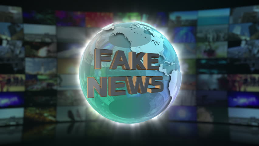 Fake News On Screen 3D Animated Text Graphics Over Spinning Glass Globe Parody Comedy Funny