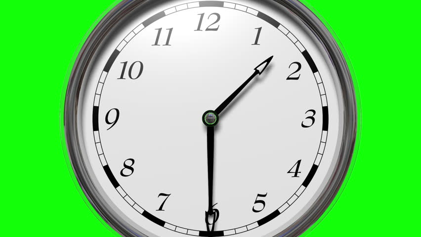 Time lapse, Time runs fast, zoom out of the clock moves fast twelve hours in sixteen seconds in, Green screen background
