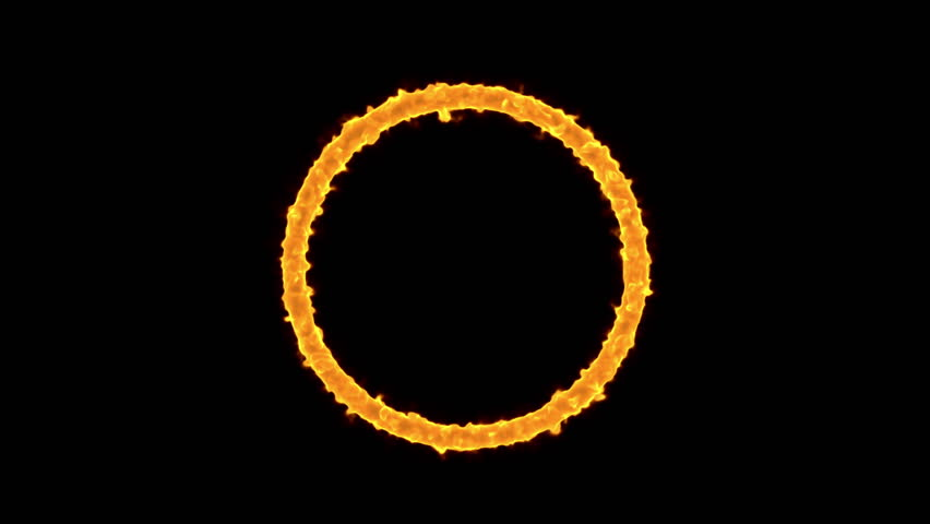 rings of fire burning on black background 4k stock footage clip - Fire Rings