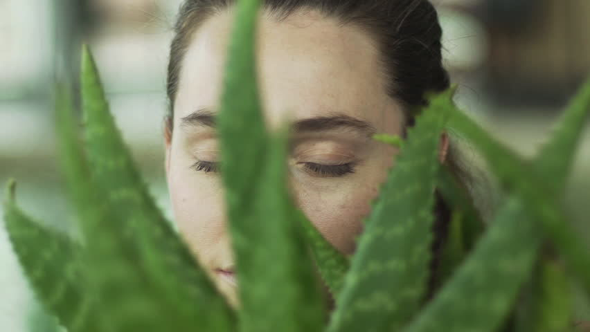 Young woman looking through aloe vera plant, portrait