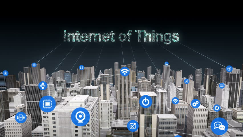 3D Animation. Forward moving,  Various sensor icon on Smart city, connecting 'INTERNET OF THINGS' technology. | Shutterstock HD Video #27810886