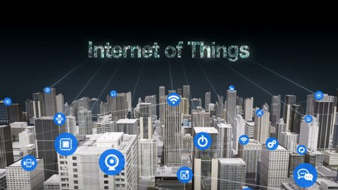 3D Animation. Forward moving,  Various sensor icon on Smart city, connecting 'INTERNET OF THINGS' technology.