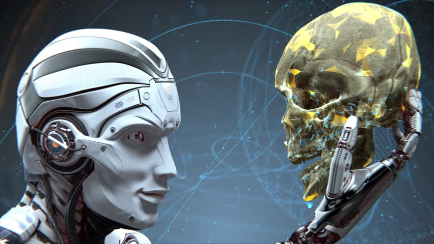 Artificial Intelligence concept. Robot holding with arm and observing human skull in Evolved Cybernetic organism world against futuristic digital background