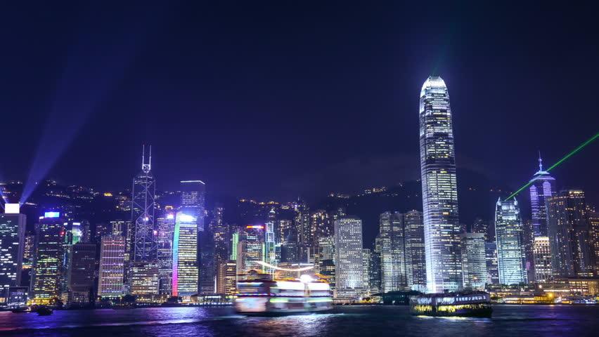 night scene of hongkong