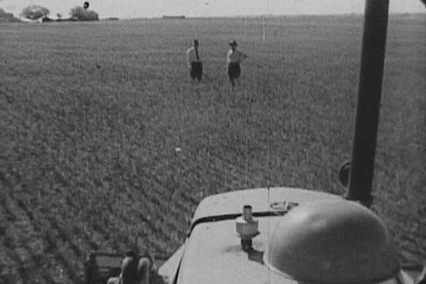 1950s: A bulldozer levels a wheat field to make room for oil-digging gear, such as the rattle-digger - whose progress is stopped by quicksand. Mud is brought in to ameliorate the issue in 1959.