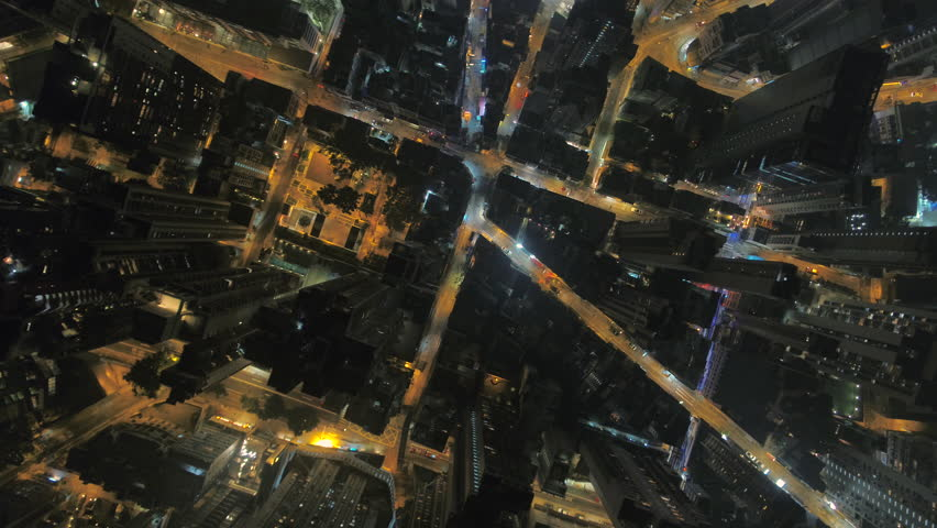 Hong Kong Aerial v7 Flying down vertically over Central District at night. | Shutterstock HD Video #27866716