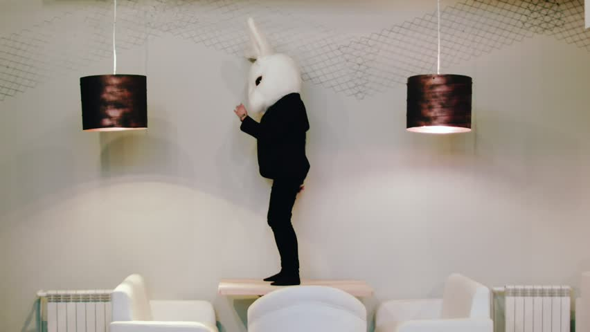The hare is dancing. The rabbit dances. A man in a hare suit. | Shutterstock HD Video #27883096