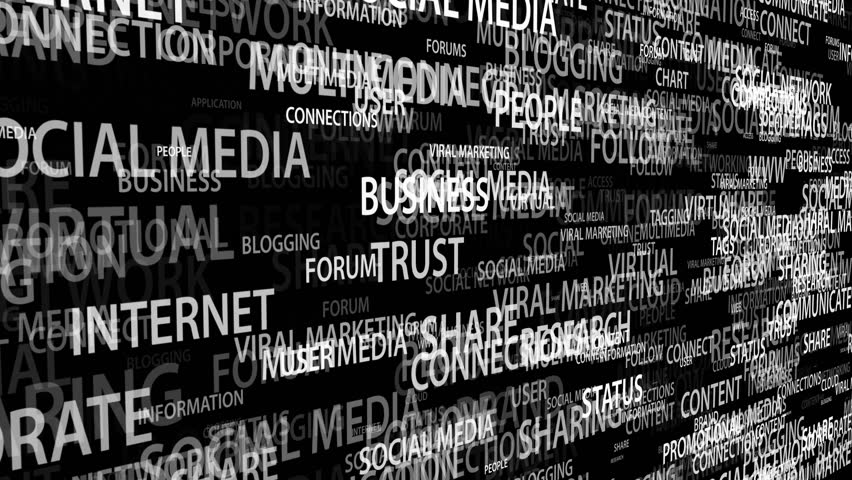 Social Media Word Cloud Animation On Black Background Seamless Loops