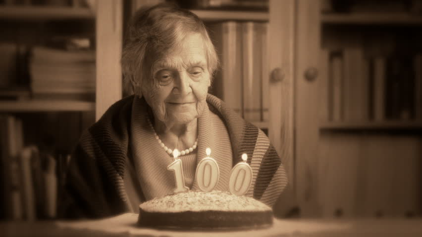 Sad Grandma At Her 100th Birthday Stock Footage Video
