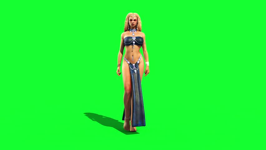 Sexy Odalisque Woman Walkcycle Front Green Screen 3D Rendering Animation