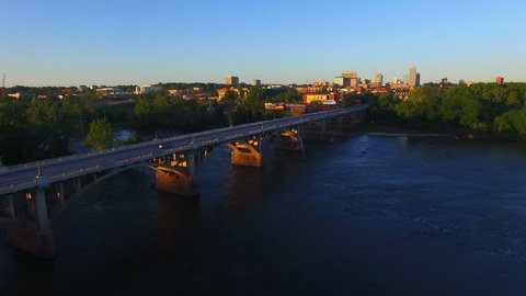 An aerial sunset shot in 4k of Columbia SC coming over the Congaree River