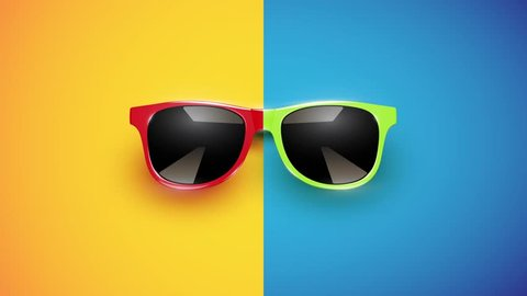 Colorful sunglasses fast slideshow with different backgrounds with the same position, illustration video for advertising