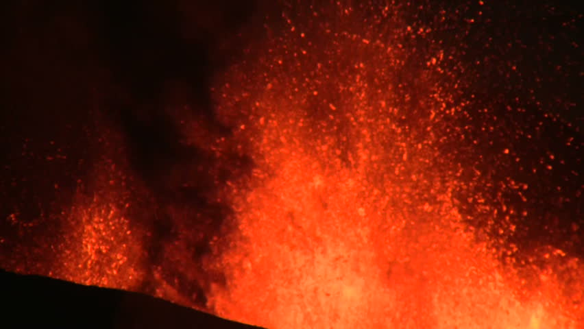Volcanic Eruption in Iceland  2010, Eyjafjallajokull. Footage taken in extreme conditions only a half mile from the crater during frequent gas explosions from advancing lava. A mountain is born. | Shutterstock HD Video #2794909