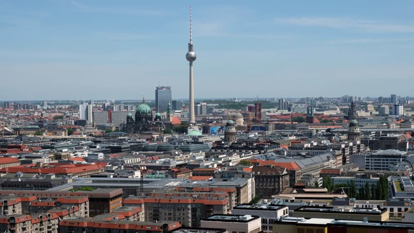 Berlin, Germany - june 09, 2017: Skyline of Berlin city with tv tower on a sunny day in Berlin, Germany.