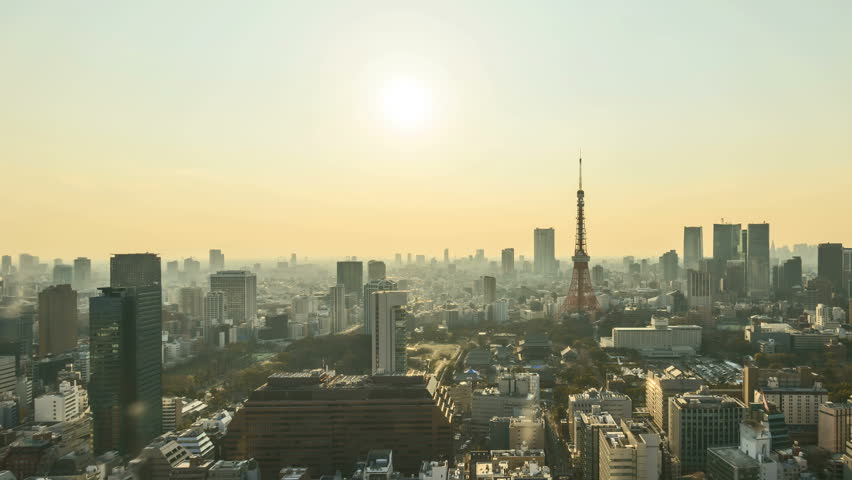 4k time lapse of day to night sunset scene at Tokyo city skyline with Tokyo Tower. Tilt down | Shutterstock HD Video #27960445