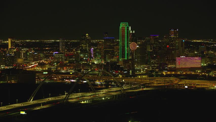 Dallas, Texas circa-2017, Aerial view of Dallas, Texas at night | Shutterstock HD Video #27989806