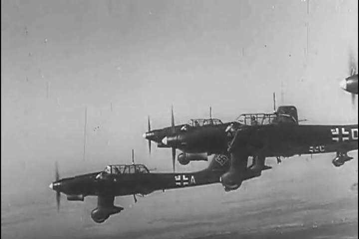 1940s: Many pilots' POV shots are included as the Luftwaffe bombs Allied holdings in 1940.