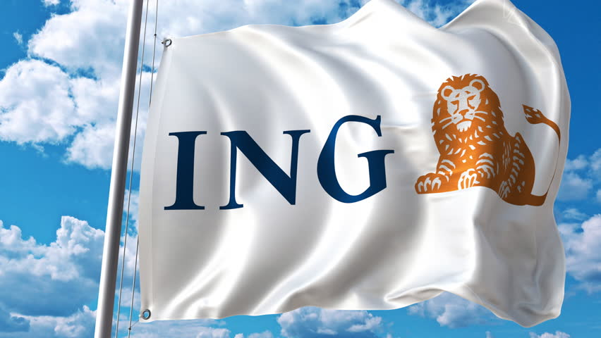 Waving flag with ING logo against moving clouds. 4K editorial animation
