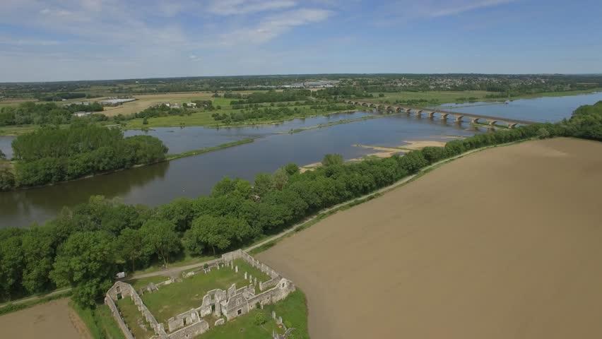 THE FARM OF DESERT CHALONNES-SUR-LOIRE, VIEW BY DRONE. Aerial view of the Chalonnes-sur-Loire Desert Farm, filmed by drone, France Loire Valley, Chalonnes-sur-Loire, Maine-et-Loire, France