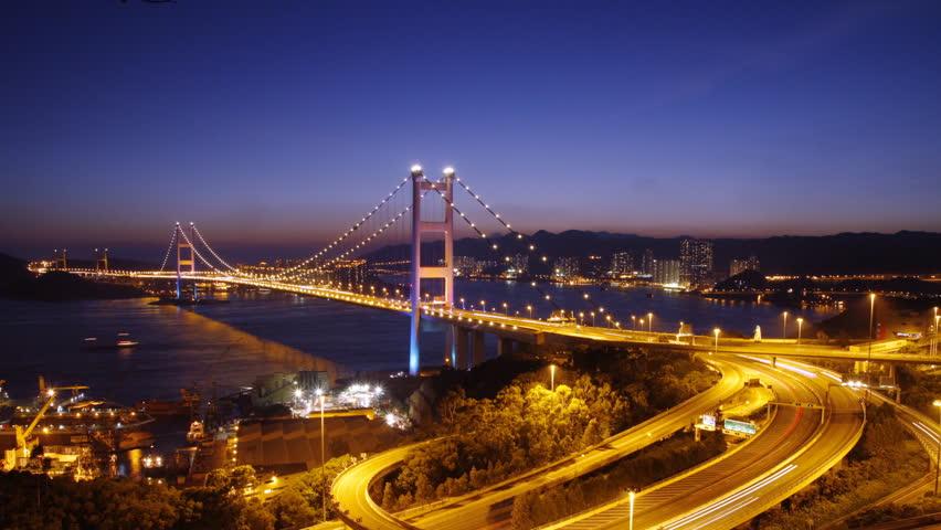 Time lapse of Tsing Ma Bridge at night  ( tilt down ) - Tsing Ma Bridge is a