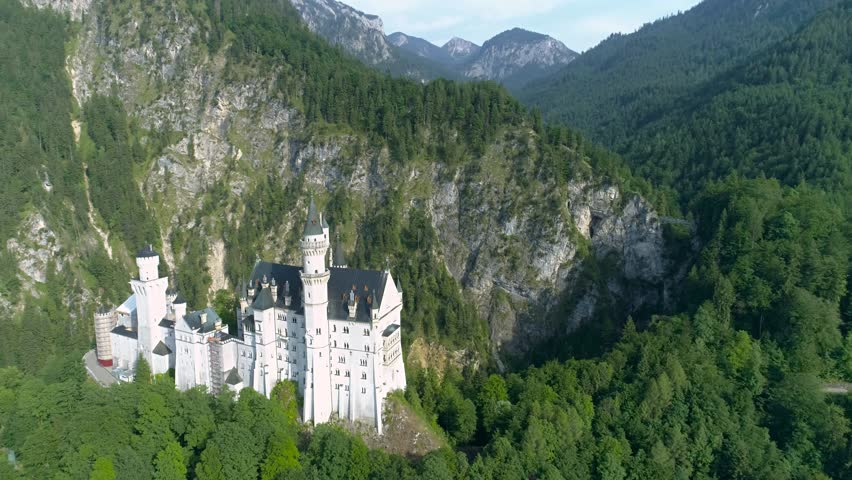Aerial footage of a beautiful castle in the Bavarian alps in Germany called Neuschwanstein. This is in 4k quality.