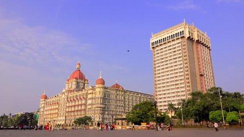 INDIA: Time lapse shot of a Taj Hotel in Mumbai, Maharashtra, India