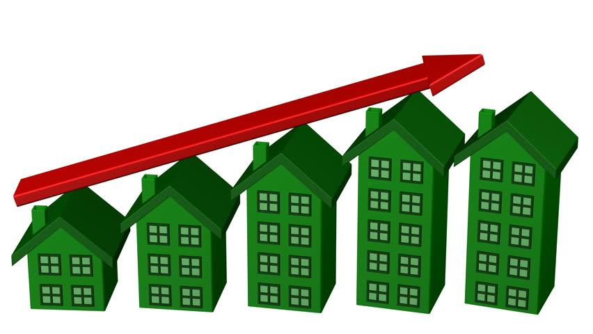Home price chart growth with arrow. Luma matte. 3D rendering.   Shutterstock HD Video #28142341