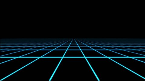 Blue Holographic Grid Matrix Floor Motion Graphic Element