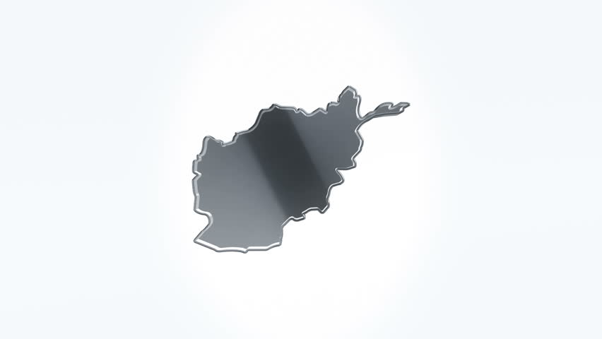 3D Animation rotation of symbol of Afganistan map from glass. Animation of seamless loop.