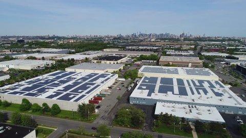 Aerial. Warehouse area near New York city. Huge malls. 4K