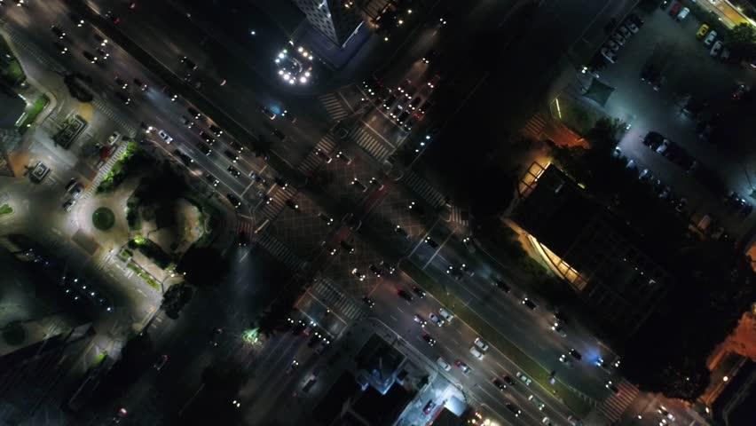 Top View of Faria Lima x Juscelino Kubitschek avenue in Sao Paulo, Brazil