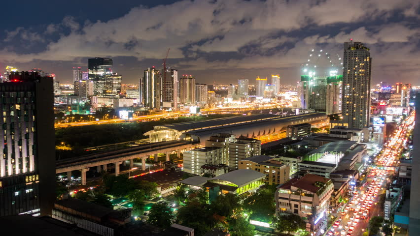 Bangkok, Thialand - May 18, 2017: Bangkok Timelapse view showing skytrain railway link connecting city to airport at night | Shutterstock HD Video #28197646