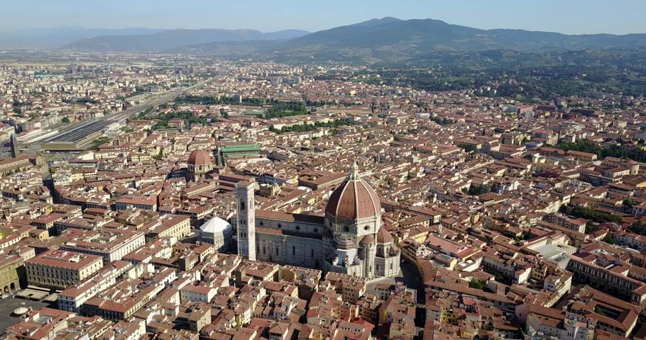 Aerial drone footage of panoramic view of Florence in Italy