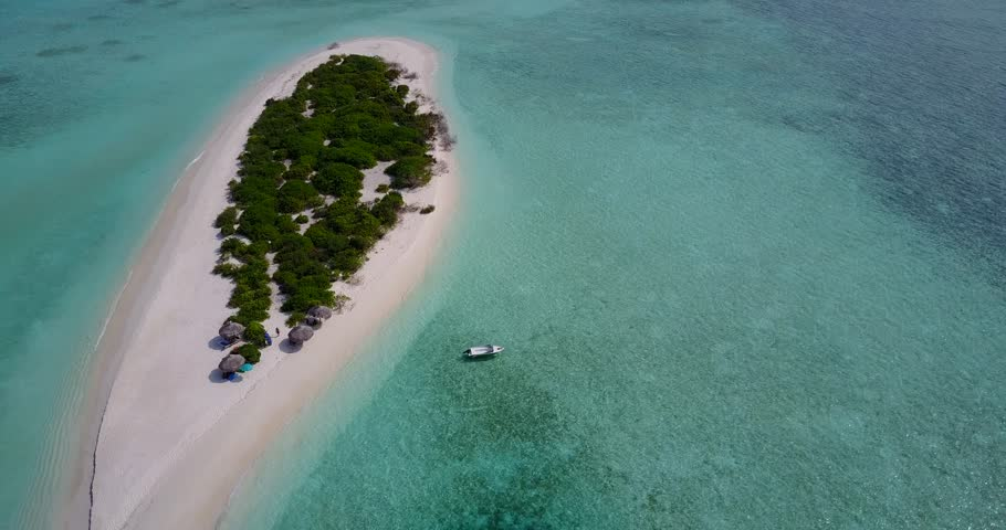 V05638 Aerial flying drone view of Maldives white sandy beach on sunny tropical paradise island with aqua blue sky sea water ocean 4k | Shutterstock HD Video #28231804