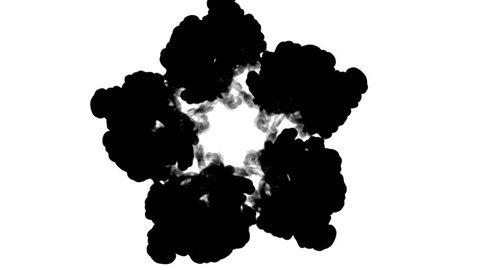 Overhead shot of black ink flows form star, ink inject or blow smoke on white in slow motion. Black in water for Inky or smoky background or ink effects. Luma matte like alpha mask is on