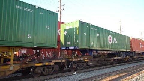 Los Angeles, JUN 2: 4K Video of railway, trains and goods on JUN 2, 2017 at Los Angeles, California, U.S.A.