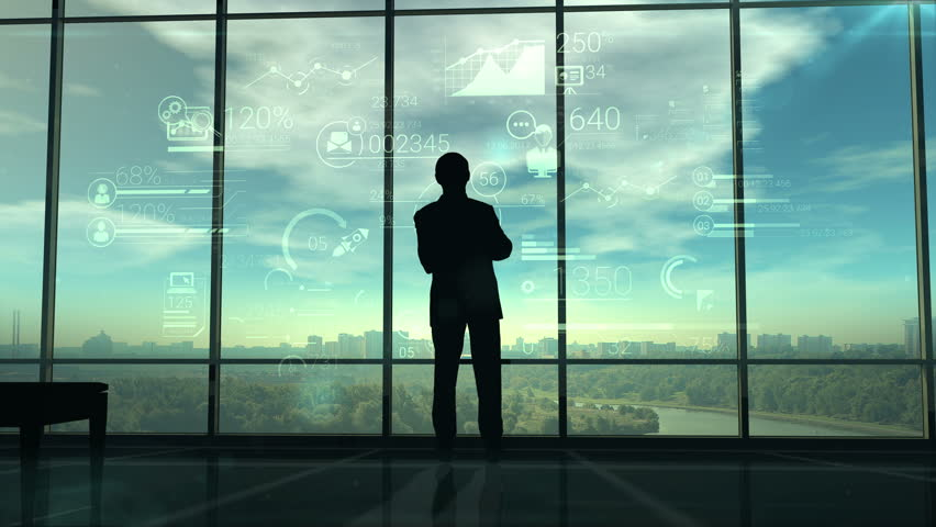Silhouette of man and corporate infographics
