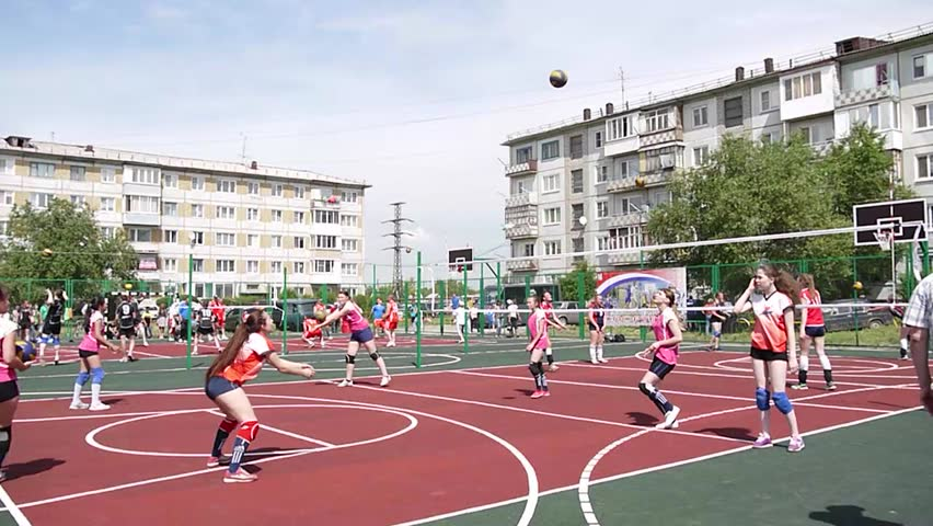 Russia, Omsk region, Omsk district, Luzino village, June 24, 2017, Summer sports and cultural festival of Omsk region - Opening of a sports ground on Mayorova street 20. Queen of sport – 2017