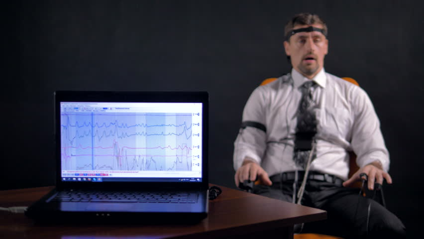 4K. Man connected to the lie detector circuit.