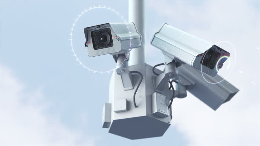 Futuristic security cameras against blue sky in 4K
